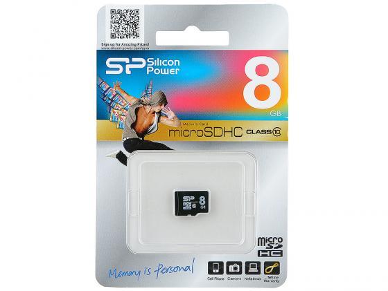 Карта памяти Micro SDHC 8GB Class 10 Silicon Power SP008GBSTH010V10 silicon power sp032gbsdh010v10 sdhc 32гб class 10