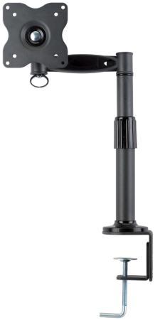 Настольное наклонно-поворотное крепление Kromax OFFICE-1 для LCD монитора 15-32 3 степени свободы 3D вращение VESA 75/100 max 10кг серый kromax office 3 10 26 до 2x12кг vesa до 100x100 серый для двух мониторов