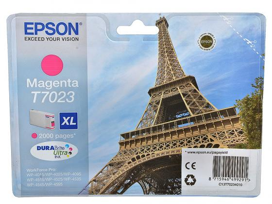 Картридж Epson C13T70234010XL для Epson WP 4000/4500 Series пурпурный 2000стр epson t7014 xl c13t70144010 yellow картридж для workforce pro wp 4000 5000 series