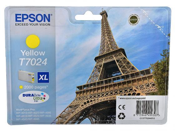 Картридж Epson C13T70244010XL для Epson WP 4000/4500 Series желтый 2000стр картридж epson c13t70224010xl для epson wp 4000 4500 series голубой 2000стр