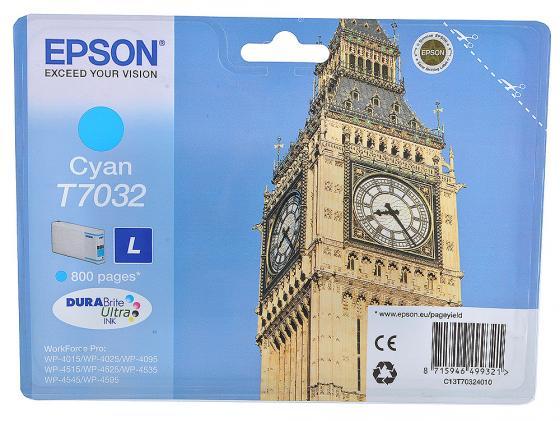 Картридж Epson C13T70324010 L для WP 4000 4500 голубой 800стр картридж epson c13t70224010xl для epson wp 4000 4500 series голубой 2000стр