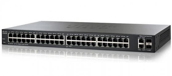 Коммутатор Cisco SG200-50 48 портов 10/100/1000Mbps 2x combo GbLAN/SFP SLM2048T-EU коммутатор cisco slm2048t eu