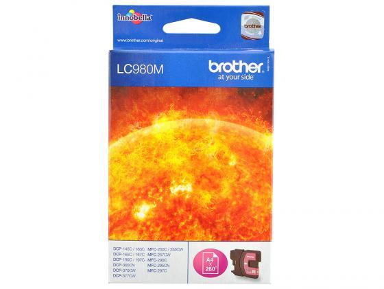 Картридж Brother LC980M для DCP-145 165 195 365 375 MFC-250 255 290 пурпурный снпч brother mfc 610c картриджи lc980m lc980c lc980y lc980bk