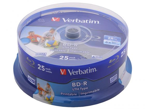 Диски BluRay Verbatim BD-R 25Gb 6x CakeBox Printable 25шт 43771 диски bluray verbatim bd r 25gb 6x 10 шт cakebox printable 43804