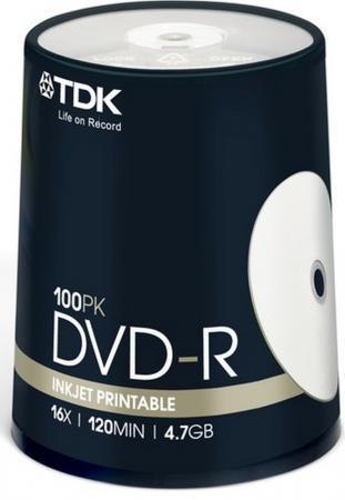 Диски DVD-R TDK 16x 4.7Gb CakeBox Inkjet Printable 100шт 19915 диски cd dvd sony dvd r 16x dvd dvd