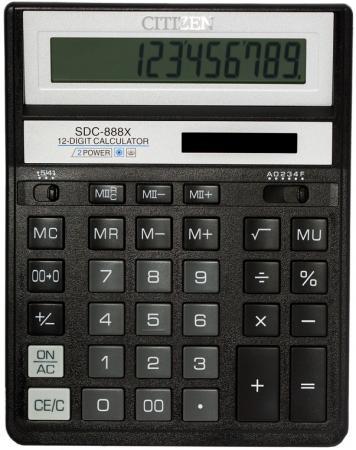 Калькулятор настольный Citizen SDC-888XBK 12-разрядный калькулятор citizen sdc 888xwh 12 разрядный белый