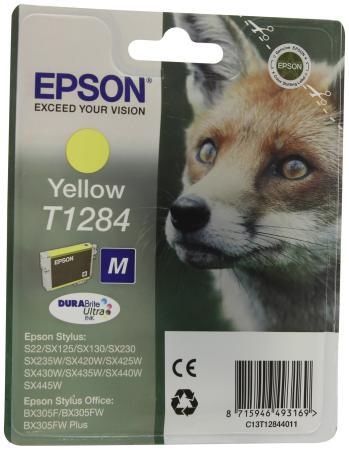 Картридж Epson C13T12844011 для S22 SX125 Yellow Желтый картридж epson original t1284 yellow для s22 sx125 c13t12844011