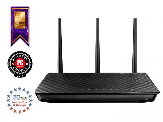Беспроводной маршрутизатор ASUS RT-N66U 802.11bgn 900Mbps 5 ГГц 4xLAN USB черный маршрутизатор asus rt n66w 802 11abgn 900mbps 5 ггц 2 4 ггц 4xlan usb3 0 белый