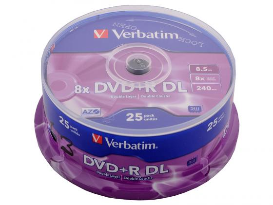 Диски DVD+R double layer Verbatim 8x 8.5Gb CakeBox 25шт 43757 цены