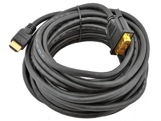Кабель HDMI-DVI 7.5м Gembird CC-HDMI-DVI-7.5MC экранированый кабель dvi dvi 1 8м dual link gembird ферритовые кольца cc dvi2 6 6c