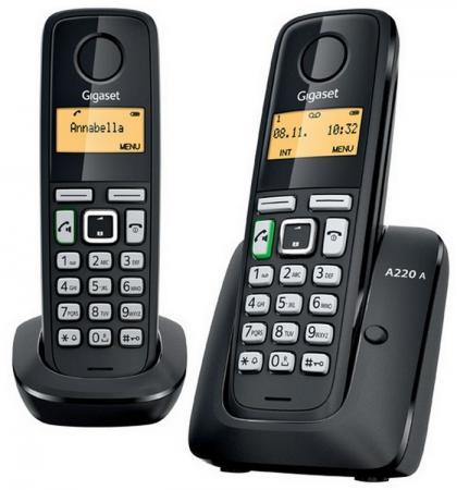 Радиотелефон DECT Gigaset A220A DUO черный 2 трубки автоответчик радиотелефон dect gigaset a220a серый