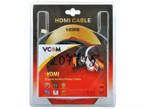 Кабель HDMI 5.0м VCOM Telecom v1.4 угловой коннектор позолоченные контакты VHD6260D-5MB Blister кабель vcom hdmi 19m m угловой коннектор 5м 1 4v позолоченные контакты
