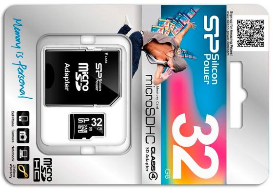 Карта памяти Micro SDHC 32GB Class 4 Silicon Power SP032GBSTH004V10-SP + адаптер SD