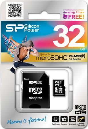 Карта памяти Micro SDHC 32Gb Class 10 Silicon Power SP032GBSTH010V10-SP + адаптер SD