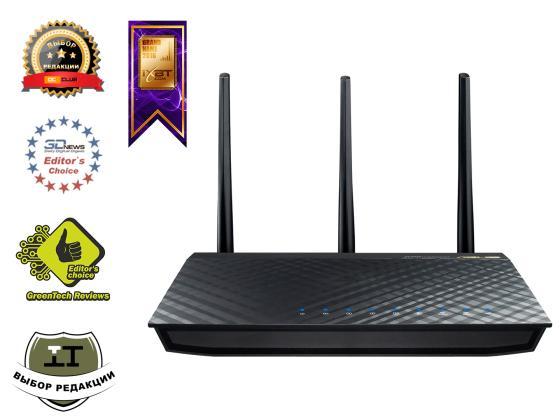 Беспроводной маршрутизатор ASUS RT-AC66U 802.11aс 1300Mbps 2.4 ГГц 5 4xLAN USB черный