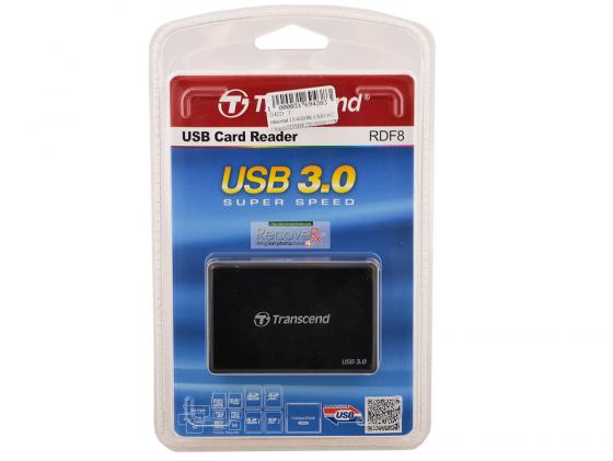 Картридер внешний Transcend TS-RDF8K USB3.0 CF/microSD/MMC/SD/SDHC/TF/MSduo/MSmicro черный карт ридер cbr human friends speed rate glam синий цвет all in one micro ms m2 sd t flash ms duo mmc sdhc dv ms pro ms ms pro duo usb 2 0