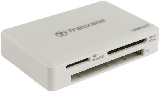 Картридер внешний Transcend TS-RDF8W USB3.0 CF/microSD/MMC/SD/SDHC/TF/MSduo/MSmicro белый картридер внешний transcend ts rdf8k usb3 0 cf microsd mmc sd sdhc tf msduo msmicro черный
