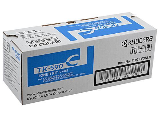 Картридж Kyocera TK-590C голубой для FS-C5250DN C2026MFP C2126MFP C2526MFP C2626MFP картридж kyocera tk 590c голубой