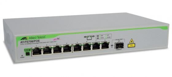 Коммутатор Allied Telesis AT-FS708/POE-50 неуправляемый 8 портов 10/100Mbps 1xSFPuplink PoE коммутатор allied telesis at fs708 poe 50 неуправляемый 8 портов 10 100mbps 1xsfpuplink poe
