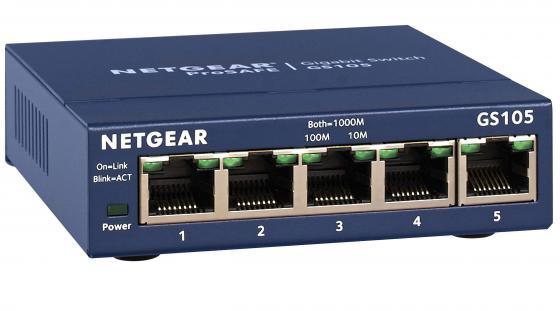 Коммутатор NETGEAR GS105GE неуправляемый 5 портов 10/100/1000Mbps коммутатор netgear gs105ge gs105ge