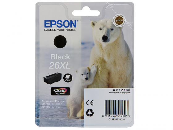Картридж Epson C13T26214010/12 26XL для XP-600 XP-605 XP-700 XP-800 Black Черный увеличенный t2621 t2631 t2632 t2633 t2634 refillable ink cartridge for epson expression premium xp 600 xp 605 xp 700 xp 800 printer
