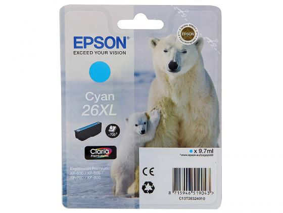 Картридж Epson C13T26324010 для XP-600 XP-605 XP-700 XP-800 Cyan Голубой увеличенный 100% original new printer print head for epson xp800 xp801 xp810 xp821 xp850 xp950 xp 801 xp 701 printhead on sale