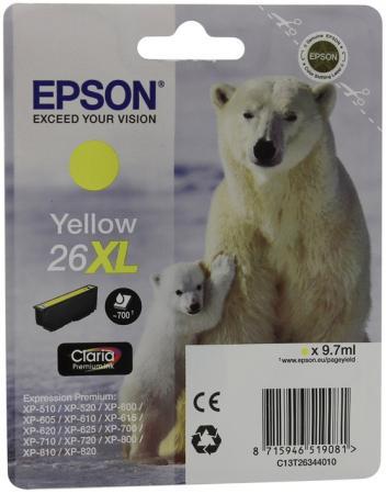 Картридж Epson C13T26344010 для XP-600 XP-605 XP-700 XP-800 Yellow Желтый увеличенный t2621 t2631 t2632 t2633 t2634 refillable ink cartridge for epson expression premium xp 600 xp 605 xp 700 xp 800 printer