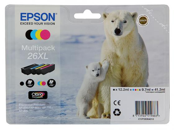 Набор картриджей Epson C13T26364010 MultiPack для XP-600 XP-700 XP-800 увеличенный procolor new refillable ink cartridges south america mexico version for epson t1951 t1954 t1961 t1964 t1971 xp 101 201 xp 211