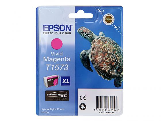 Картридж Epson C13T15734010 для Stylus Photo R3000 Magenta Пурпурный 850стр картридж струйный epson c13t15724010 голубой для epson st ph r3000 850стр