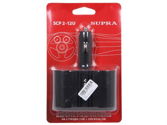 разветвитель-прикуривателя-supra-scp-2-12u-1xusb-выход-и-2-гнезда-черный