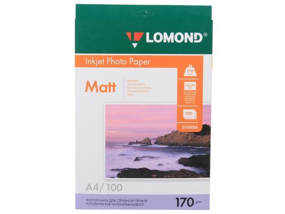 Фото - Бумага Lomond A4 170г/кв.м двухсторонняя матовая 100л 0102006 бумага lomond 80г кв м матовая стандарт 841x175x76 1209137