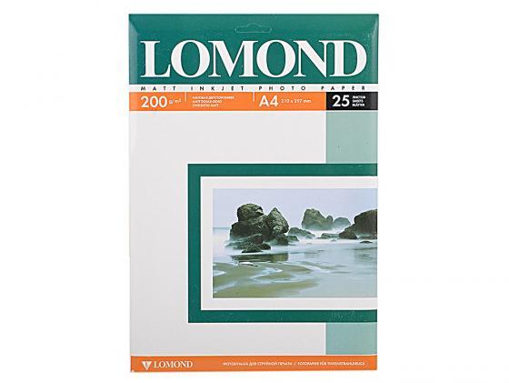 Фотобумага Lomond A4 200г/кв.м двухсторонняя матовая 25л 0102052