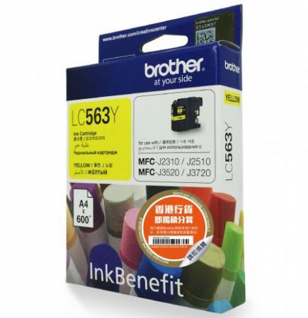 Картридж Brother LC563Y для MFC-J2510 Желтый 600стр картридж brother lc565xlm magenta для mfc j2510 mfc j2310 mfc j3720 mfc j3520