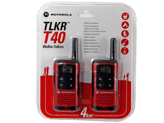 Радиостанция Motorola TLKR-T40 красный/черный радиостанция motorola tlkr t80 extreme quad pack