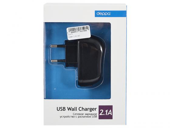 Сетевое зарядное устройство Deppa 2.1A USB 23139 черный сетевое зарядное устройство apple usb мощностью 5 вт md813zm a