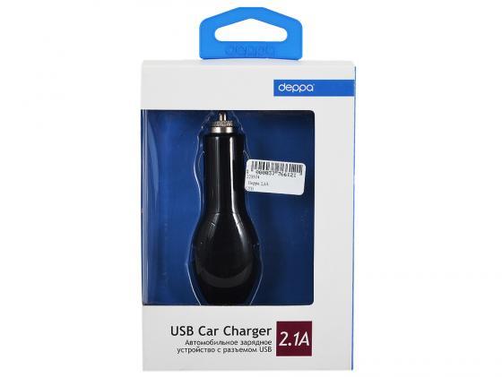 Автомобильное зарядное устройство Deppa 2.1A USB черный автомобильное зарядное устройство deppa 22123 usb 2 1a черный