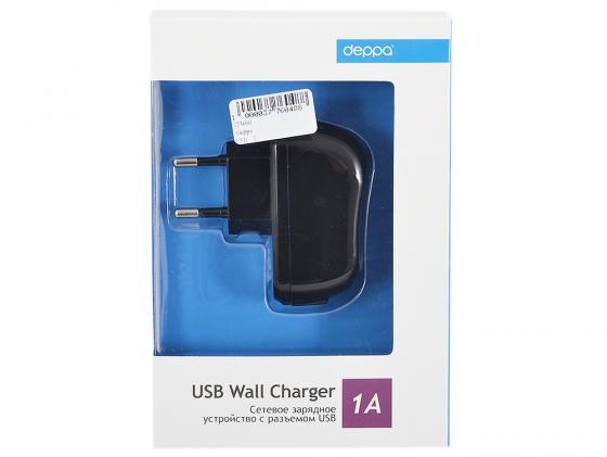 Сетевое зарядное устройство Deppa с разъемом USB с током заряда 1 А без кабеля черный 23123