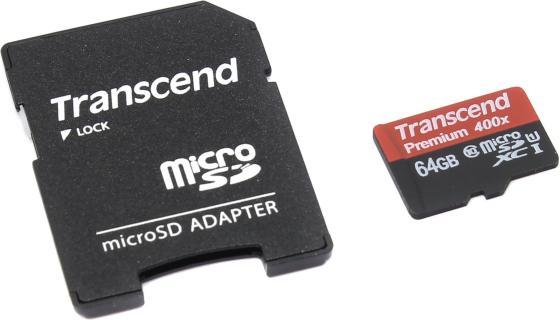 Карта памяти Micro SDXC 64Gb Class 10 Transcend TS64GUSDU1 400x + адаптер SD