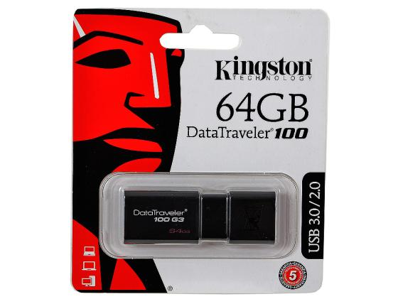 Флешка USB 64Gb Kingston DataTraveler 100 DT100G3/64GB USB3.0 kingston hyperx savage 64gb usb накопитель