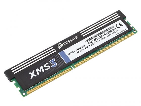 Оперативная память 4Gb PC3-12800 1600MHz DDR3 DIMM Corsair XMS3 11-11-11-30 CMX4GX3M1A1600C11 оперативная память corsair ddr3 dimm 4gb pc 12800 cmx4gx3m1a1600c9