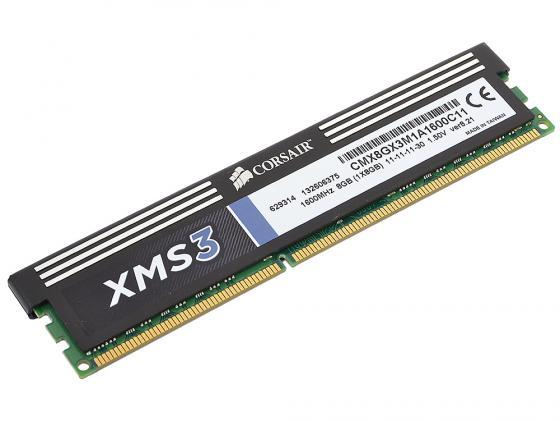 Оперативная память 8Gb PC3-12800 1600MHz DDR3 DIMM Corsair XMS3 11-11-11-30 CMX8GX3M1A1600C11 оперативная память 8gb pc3 12800 1600mhz ddr3 dimm corsair vengeance 10 10 10 27 cmz8gx3m1a1600c10