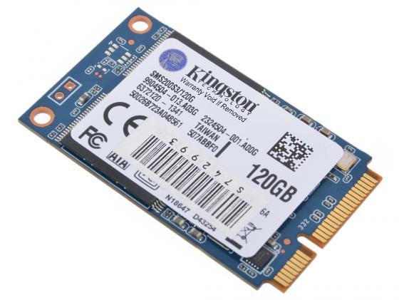 Твердотельный накопитель SSD mSATA 120GB Kingston SSDNow mS200 Read 550Mb/s Write 520Mb/s SMS200S3/120G kingston ssd твердотельный диск накопитель sms200s3 120g объем 120 гб подключение по sata iii или msata зав номер sms200s3 120g