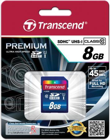 Карта памяти SDHC 8GB Class 10 Transcend UHS-I 300x Premium TS8GSDU1 карта памяти micro sdhc 16gb class 10 uhs i qumo qm16gmicsdhc10u1 sd adapter