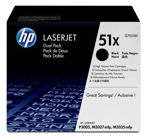 Картридж HP Q7551XD №51Х для LaserJet P3005 M3035MFP M3027MFP 13000 страниц двойная упаковка тонер картридж hp q7551a for lj p3005 m3035mfp m3027mfp 6500 pages