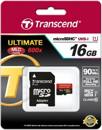 Карта памяти Micro SDHC 16GB Class 10 Transcend TS16GUSDHC10U1 600x + адаптер