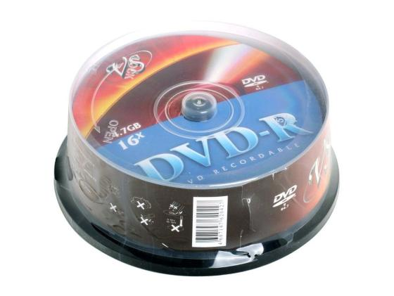 Диски DVD-R VS 16x 4.7Gb CakeBox 25шт диски cd dvd thunis dvd r dvd r 16x 25