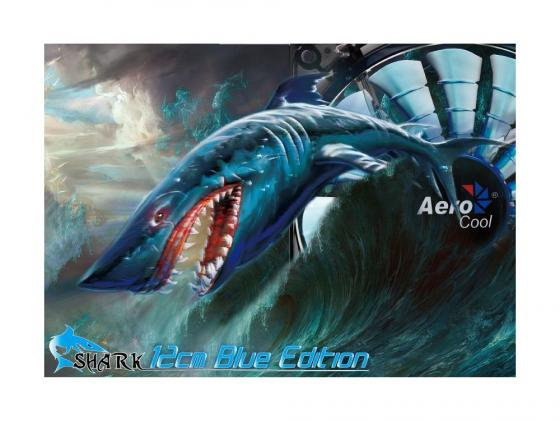 Вентилятор Aerocool Shark Blue Edition 120mm 800rpm 12.6 dBA синяя подсветка EN55420 цена и фото