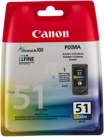 Картридж Canon CL-51 для Pixma MP160 170 180 450 460 iP2200 6210D 6220D повыш ёмкости 7MLх3 цветной