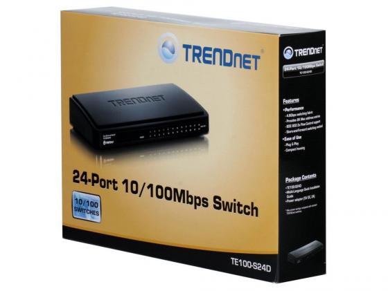 Коммутатор TRENDnet TE100-S24D 24-ports 10/100Mbps маршрутизатор trendnet tew 680mb
