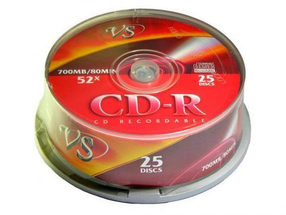 Диски CD-R VS 52x 700Mb CakeBox 25шт 62009 cd r диск mirex cd r 700mb 52х